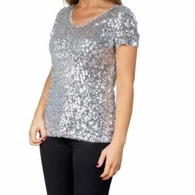 Originele zilveren glitter pailletten disco shirt dames carnavalskled