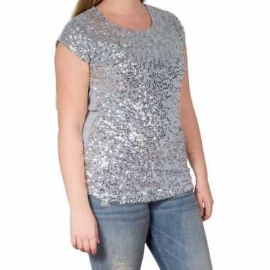 Originele zilveren glitter pailletten disco shirt dames l/xl carnaval