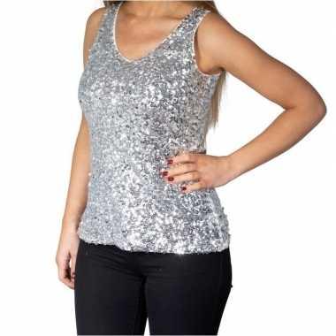 Originele zilveren glitter pailletten disco topje/ mouwloos shirt dam