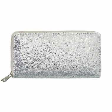 Originele zilveren glitter portemonnee dames carnavalskleding