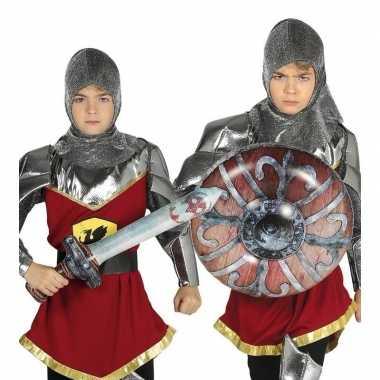 Originele zilveren ridder set opblaasbaar carnavalskleding