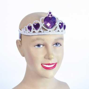 Originele zilveren tiara paarse stenen carnavalskleding