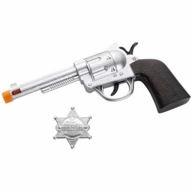 Originele zilveren western revolver badge carnavalskleding