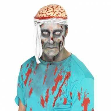 Originele zombie hoed bloederige hersenen carnavalskleding