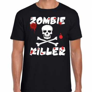 Originele zombie killer halloween t shirt zwart heren carnavalskledin