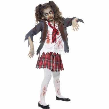 Originele zombie schoolmeisje carnavalskleding meisjes