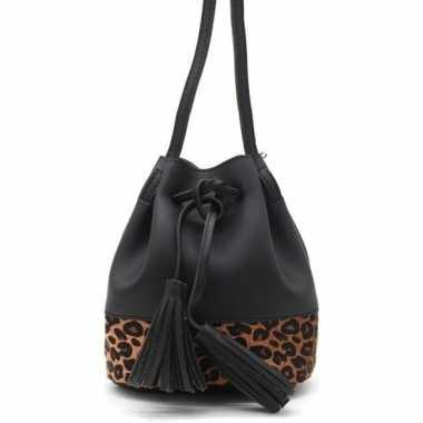 Originele zwart/bruin luipaardprint schoudertasje/bucket bag carnaval