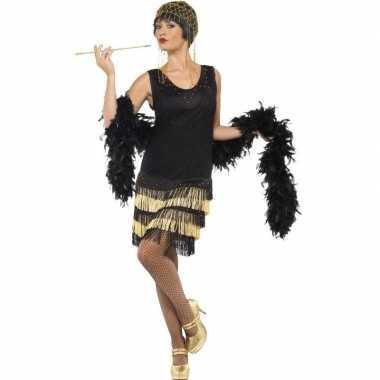 Originele zwart/gouden jaren flapper carnavalskleding dames