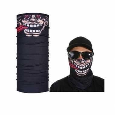 Originele zwart grappig/funny gezicht biker masker volwassennen carna