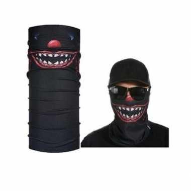 Originele zwart horror/eng gezicht biker masker volwassennen carnaval