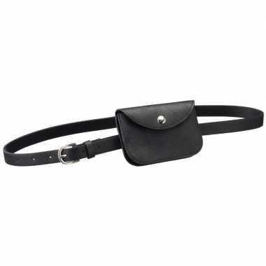 Originele zwart mini heuptasje/buideltasje aan riem dames carnavalskl