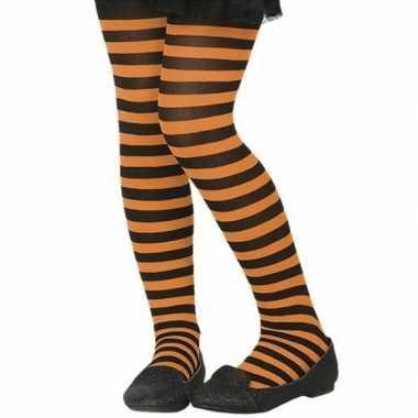 Originele zwart/oranje verkleed panty kinderen carnavalskleding