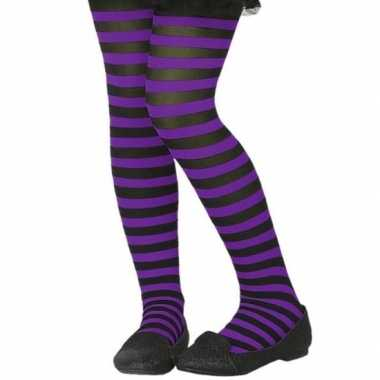 Originele zwart/paarse verkleed panty kinderen carnavalskleding