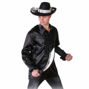 Heren Overhemd Zwart.Originele Zwart Piraten Heren Overhemd Ruches Carnavalskleding