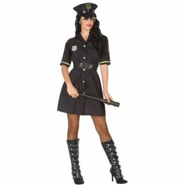 Originele zwart politie verkleed carnavalskleding dames