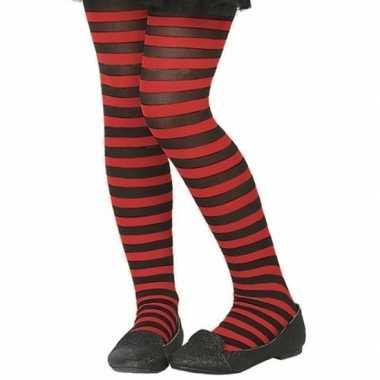 Originele zwart/rode verkleed panty kinderen carnavalskleding