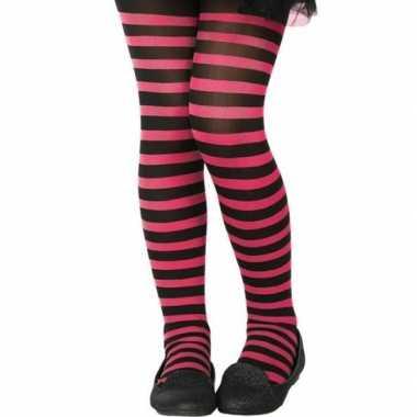 Originele zwart/roze verkleed panty kinderen carnavalskleding