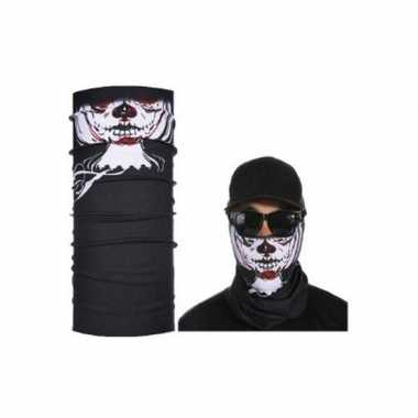 Originele zwart skelet biker masker volwassennen carnavalskleding