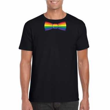 Originele zwart t shirt regenboog vlag strikje heren carnavalskleding