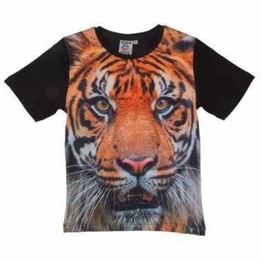 Originele zwart t shirt tijger kinderen carnavalskleding
