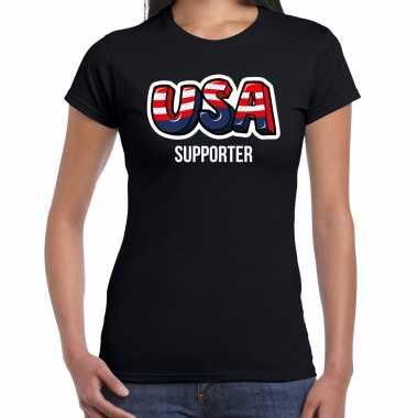 Originele zwart t shirt usa / amerika supporter ek/ wk dames carnavalskleding