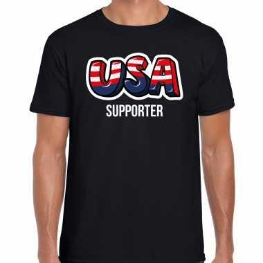 Originele zwart t shirt usa / amerika supporter ek/ wk heren carnavalskleding