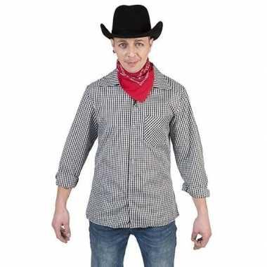 Originele zwart/wit geruit cowboy verkleed overhemd heren carnavalskl