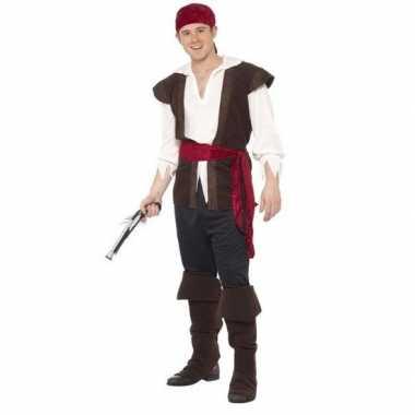 Originele zwart/wit/rood piraten carnavalskleding heren