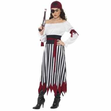 Originele zwart/wit/rood piraten verkleed carnavalskleding dames