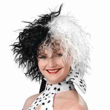 Originele zwart witte damespruik carnavalskleding
