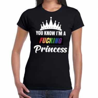 Originele zwart you know i am a fucking princess gay pride t shirt da