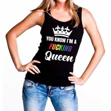Originele zwart you know i am a fucking queen tanktop dames carnavals