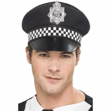 Originele zwarte britse politiepet heren carnavalskleding