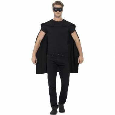 Originele zwarte cape oogmasker volwassenen carnavalskleding