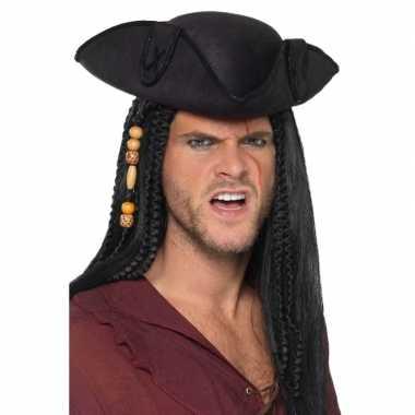 Originele zwarte driepunts piratenhoed volwassenen carnavalskleding