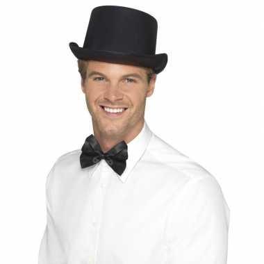Originele zwarte hoge hoed satijn look heren carnavalskleding