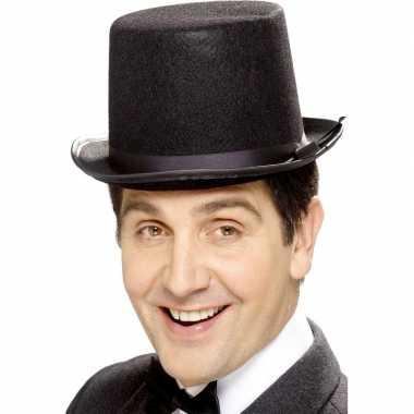 Originele zwarte hoge hoed vilt heren carnavalskleding