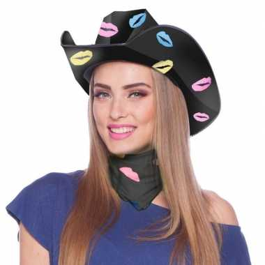 Originele zwarte kartonnen cowboyhoed lippen/kusjes dames carnavalskl