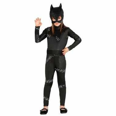 Originele zwarte kat/poes halloween catsuit meiden carnavalskleding