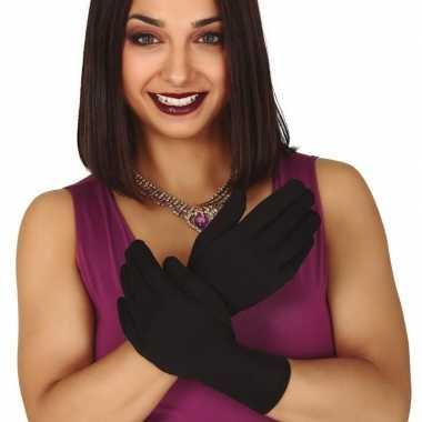 Originele zwarte korte verkleed handschoenen volwassenen carnavalskle