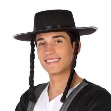 Originele zwarte orthodoxe jood verkleed hoed heren carnavalskleding