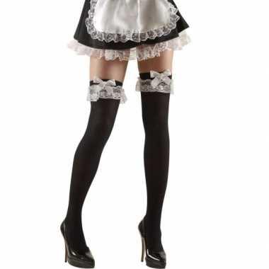 Originele zwarte over knee kousen strik carnavalskleding