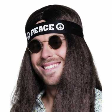 Originele zwarte peace hoofdband volwassenen carnavalskleding