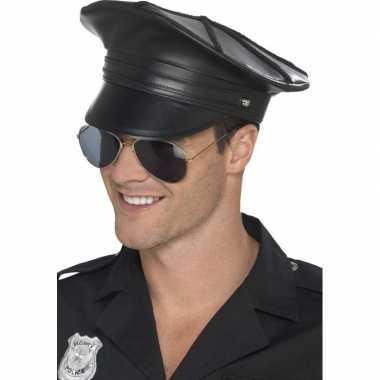 Originele zwarte politiepet lederlook heren carnavalskleding