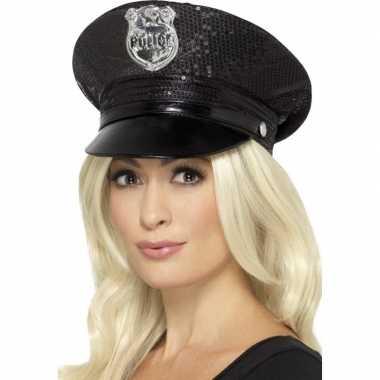Originele zwarte politiepet pailletten dames carnavalskleding