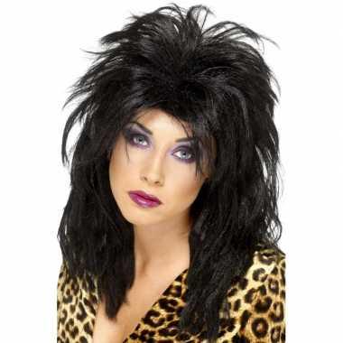 Originele zwarte s rockster pruik dames carnavalskleding
