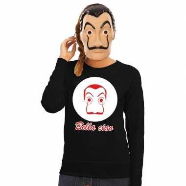 Originele zwarte salvador dali sweater la casa papel masker dames car
