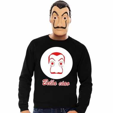 Originele zwarte salvador dali sweater la casa papel masker heren car