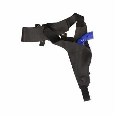 Originele zwarte schouder holster nep detective pistool carnavalskled
