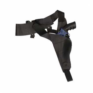Originele zwarte schouder holster nep politie pistool carnavalskledin